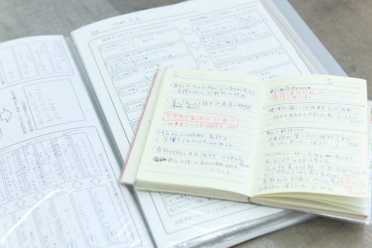 全5回の講義では、毎回、ノートやワークシートが文字でいっぱいに!