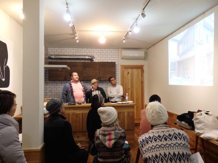 写真中央が「MOI Coffee」を運営する守田篤史さん。向かって左が「えんがわ」を運営する松浦伸也さん。右端は今回のファシリテーター、猪田昭一さんです