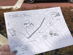 2月に実施した山谷ツアーの様子。手描きのマップは、グラフィックデザインの経験を生かした石山さんのお手製です