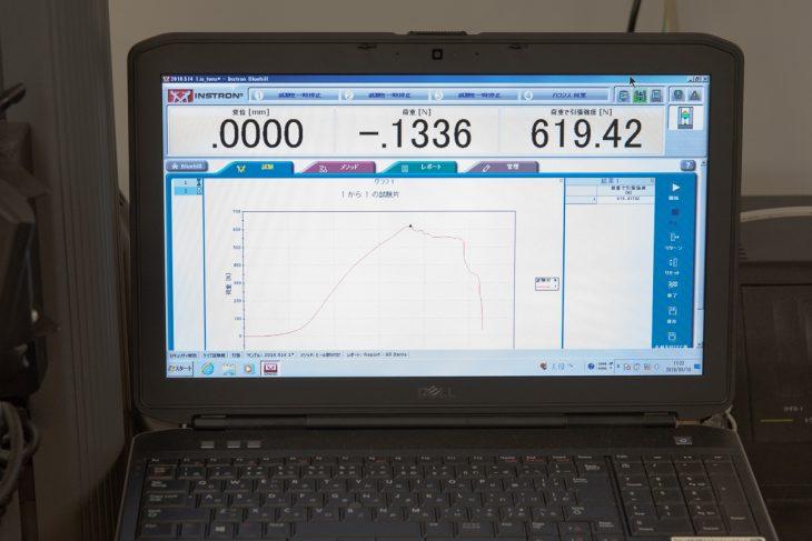 引っ張りの検査装置。ヒールに変化が生じる時点、破損する時点にかかる力のデータを収集する