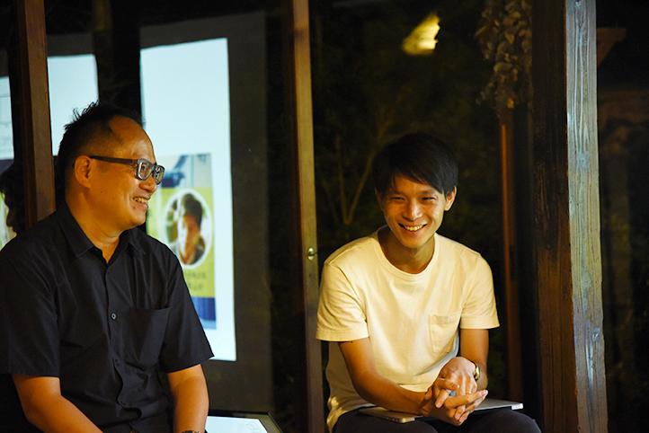 未来定番研究所 研究員の安達淳さん(左)と株式会社まちあかり舎代表取締役の水上和磨さん
